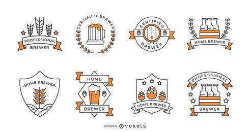 Conjunto de trazo de insignias de cerveza