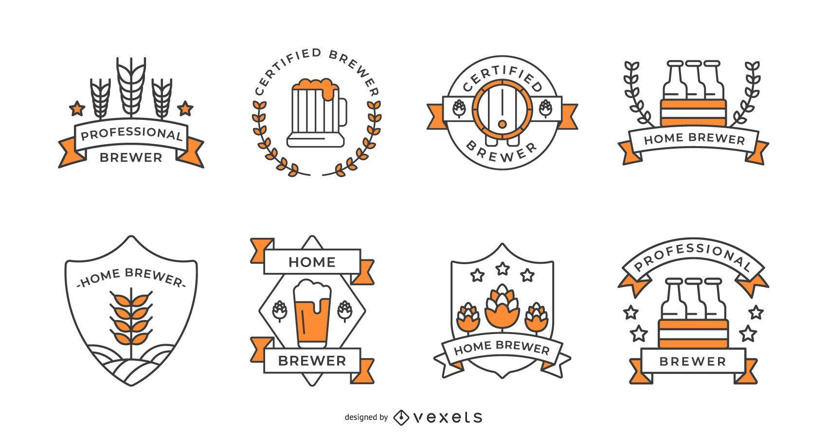Beer badges stroke set