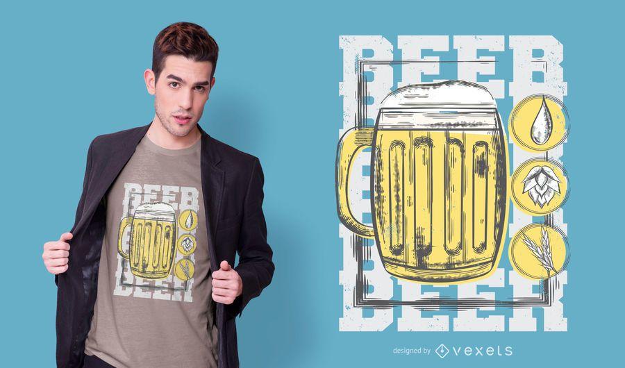 Diseño de camiseta de vaso de cerveza