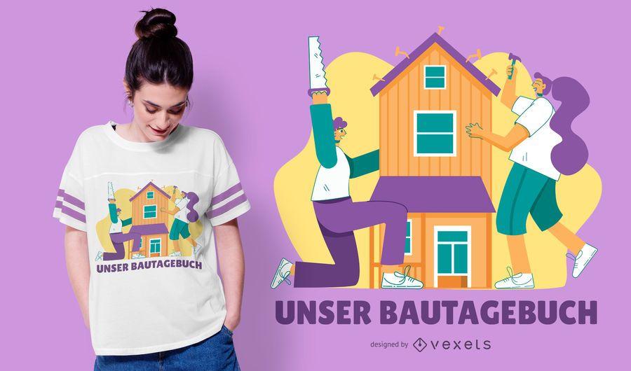 Design de t-shirt alemão de construção de amor