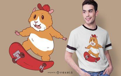 Design de t-shirt de hamster patinador