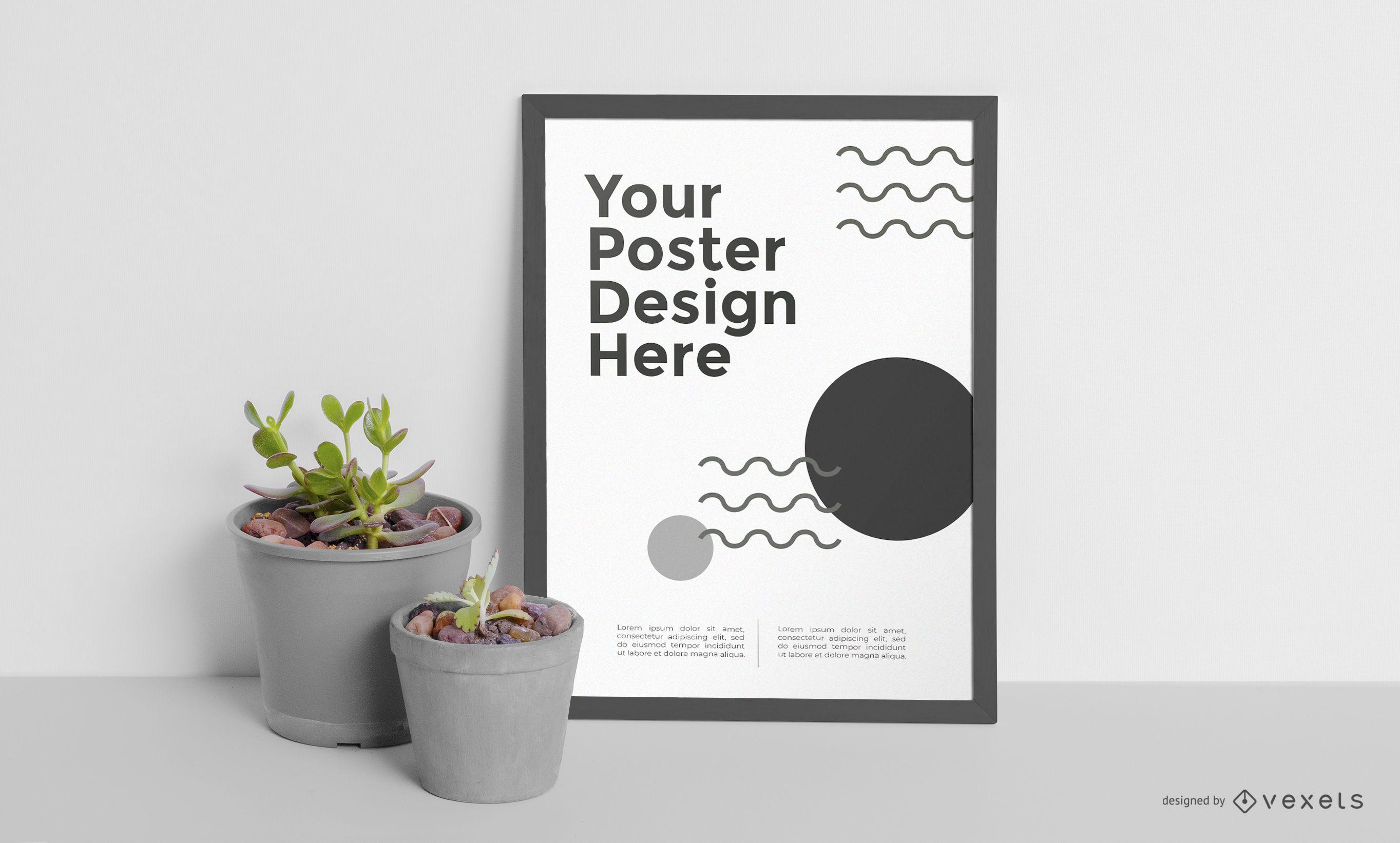 Framed poster mockup design