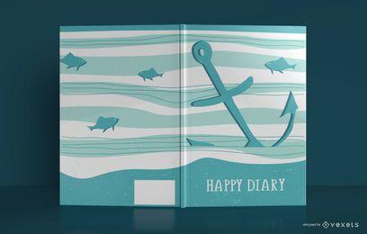 Design de capa de livro feliz diário mar