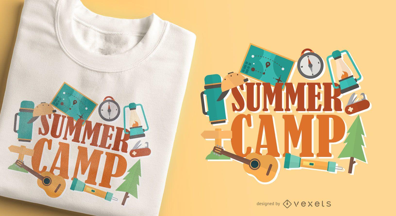 Design de camisetas para acampamento de verão
