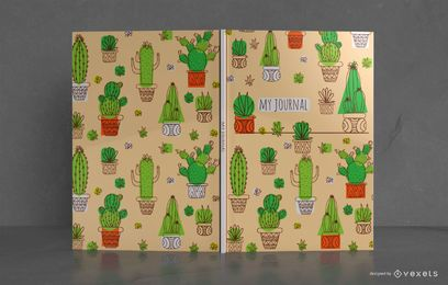 Diseño de portada de libro de diario de cactus