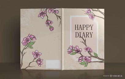 Design floral da capa do livro do diário feliz
