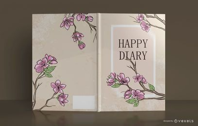 Happy Diary Floral Book Cover Design