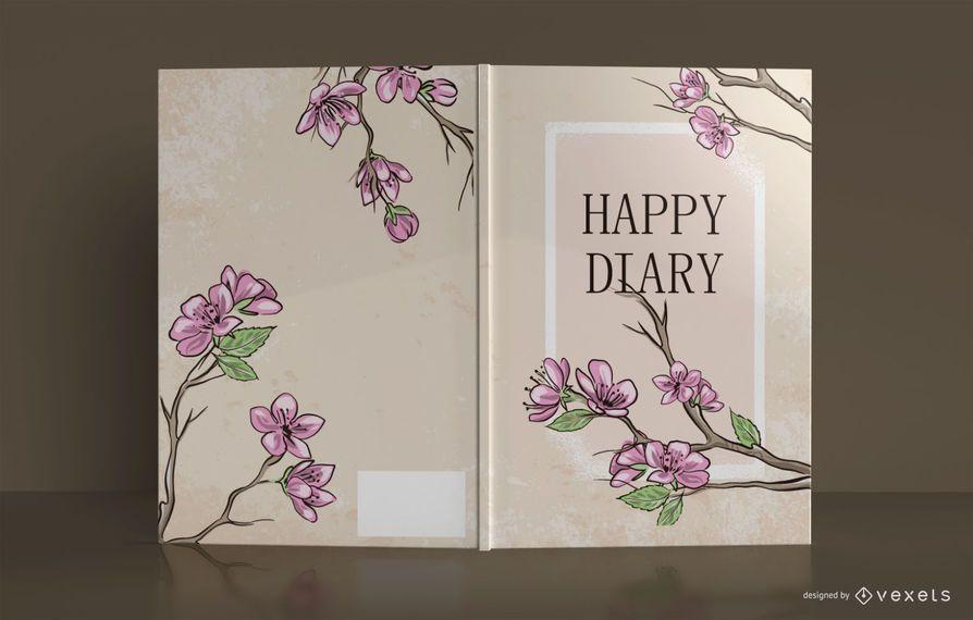 Diseño de portada de libro floral Happy Diary
