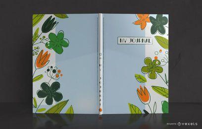 Design de capa de livro de jornal de doodle de natureza