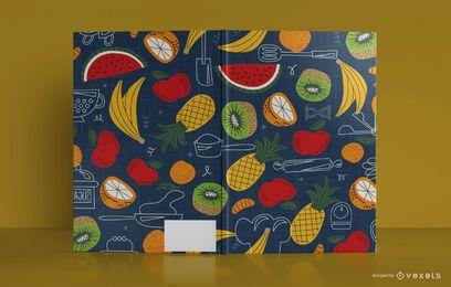 Design de capa de livro de diário de comida artística