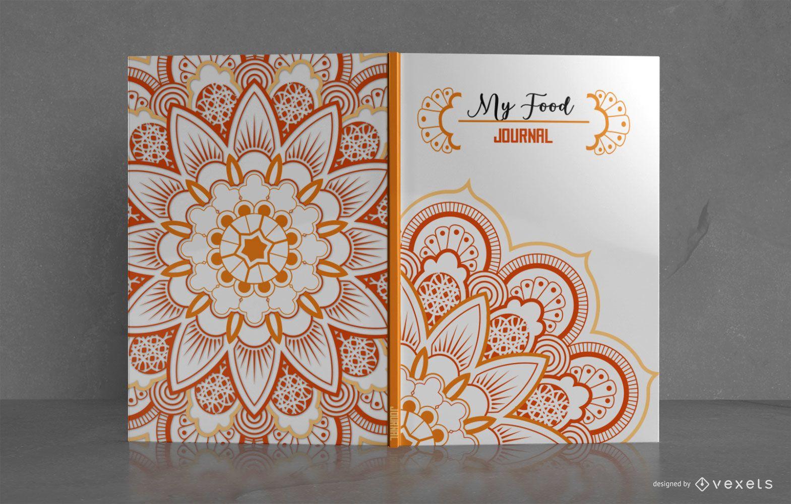 Diseño de portada de libro de diario Mandala