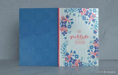 Diseño de portada de libro de diario de gratitud floral