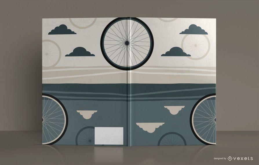 Diseño de portada de libro de cuaderno de dibujo de bicicleta