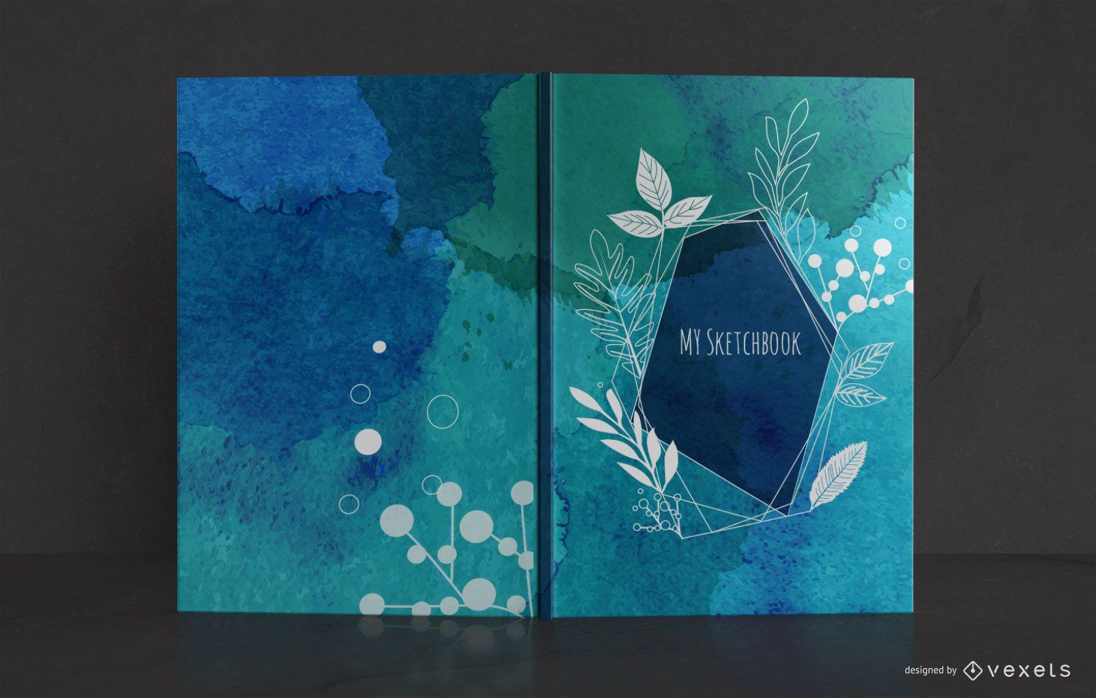 Diseño de portada de libro de cuaderno de bocetos en acuarela