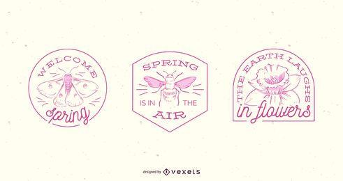 Conjunto de crachá de primavera