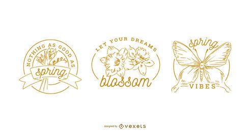 Conjunto de emblemas de primavera