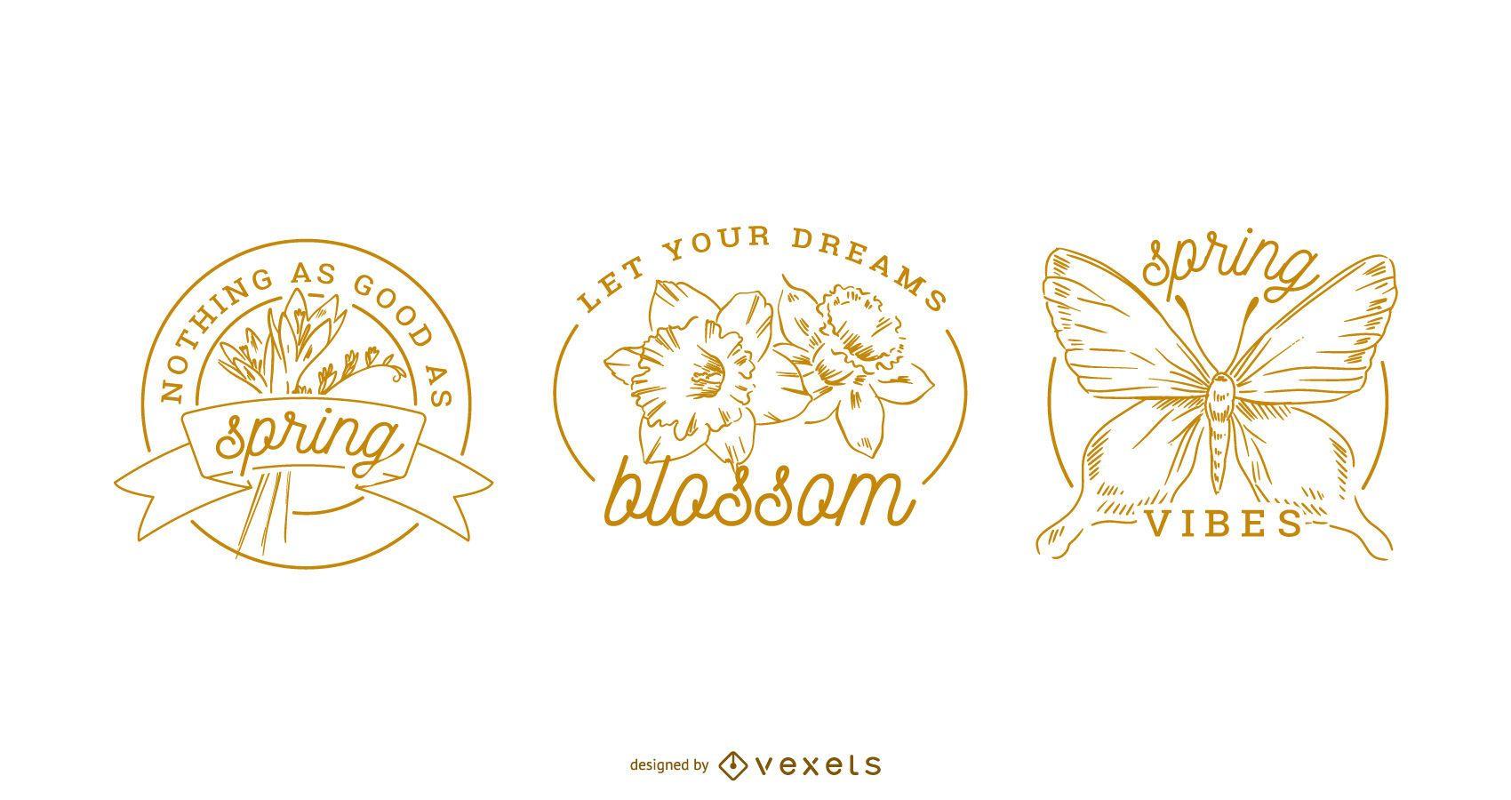 Spring badges set