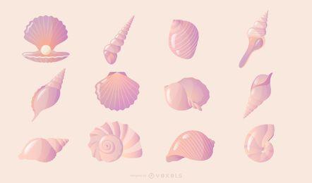 Colección degradado de concha marina