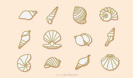 Coleção de traços de concha