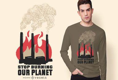Diseño de camiseta de cita de contaminación de fábrica