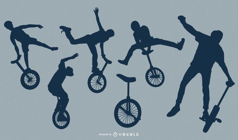 Paquete de silueta de personas de acrobacias de monociclo