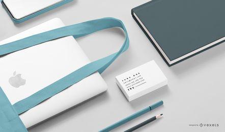 Maqueta de elementos profesionales de papelería