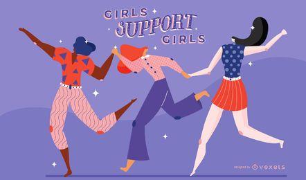 Ilustración de apoyo de las niñas del día de la mujer
