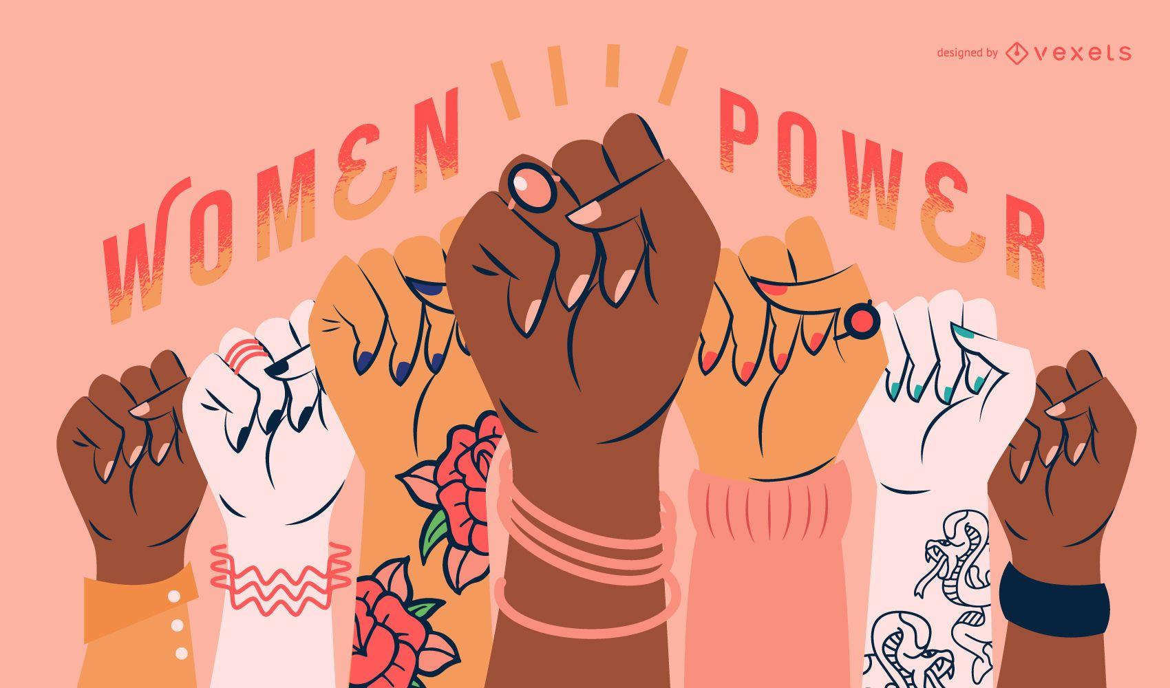 Ilustración de poder del día de la mujer