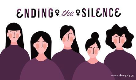 Ilustración de silencio del día de la mujer