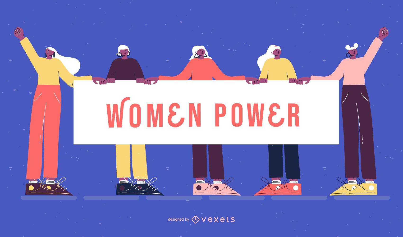 Ilustración del día de la mujer del poder de la mujer