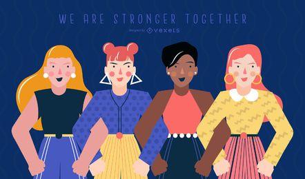 Ilustração do dia da mulher mais forte juntos