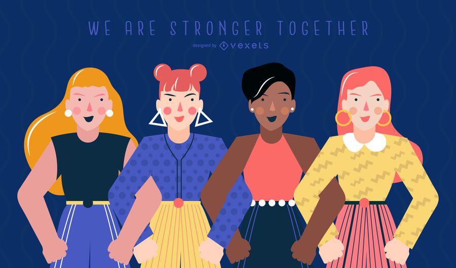 Ilustración del día de la mujer más fuerte juntos