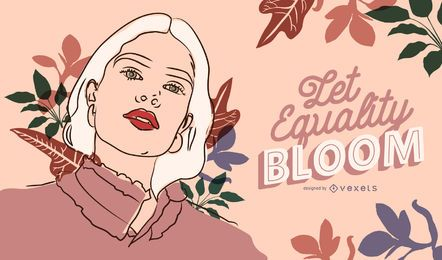 Let equality bloom women's day illustration