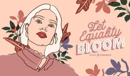 Let equality bloom women's day illustration