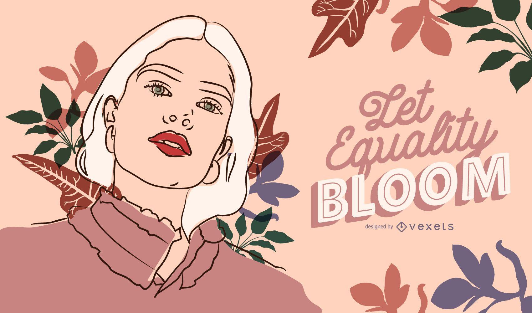 Que la igualdad florezca ilustración del día de la mujer
