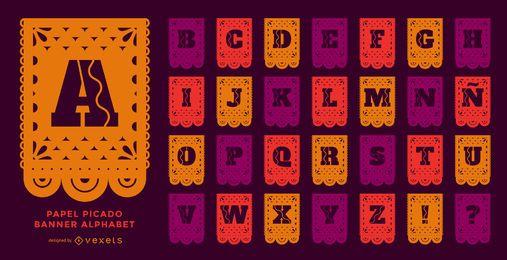 Papel picado banner conjunto de alfabeto