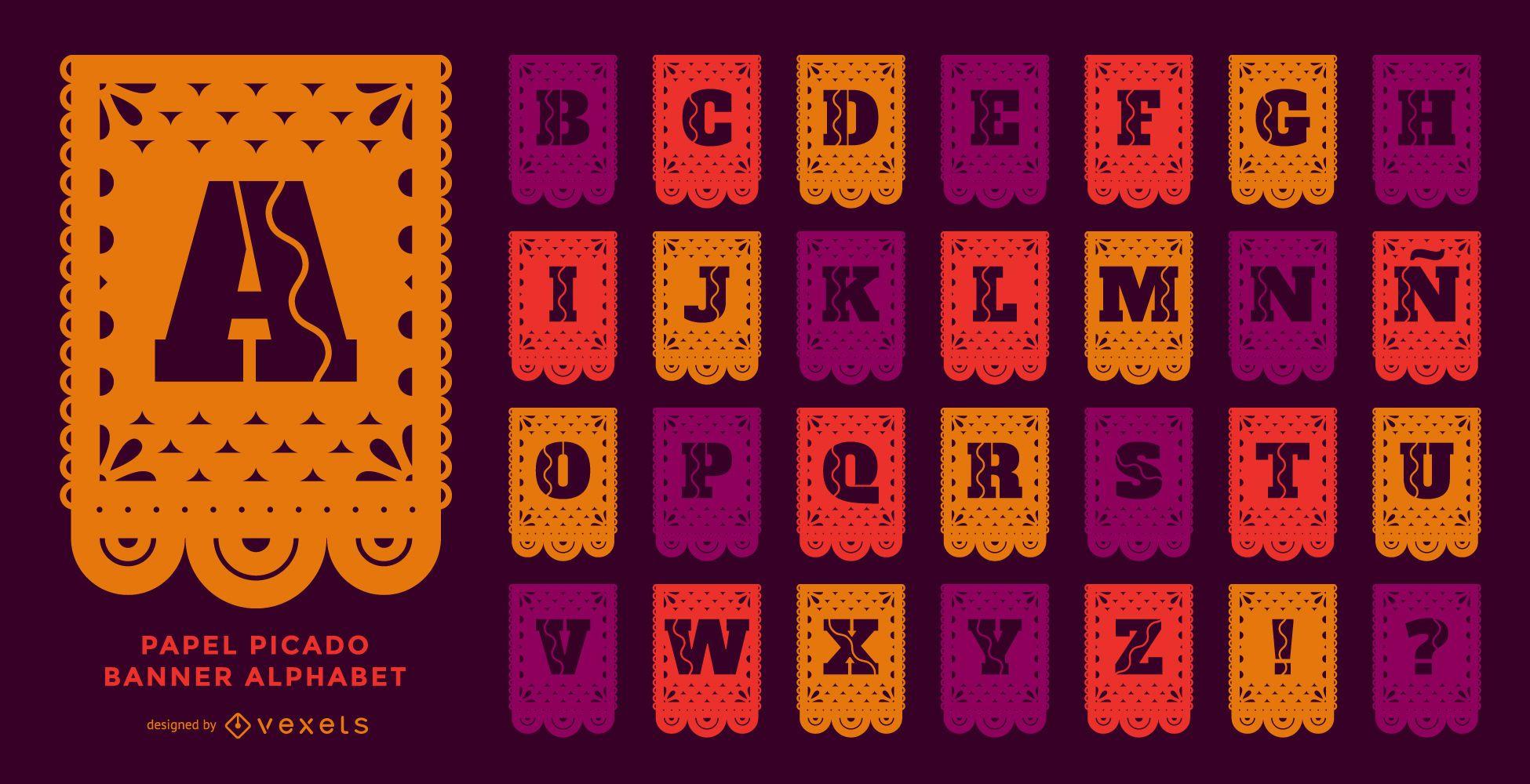 Papel picado banner alphabet set