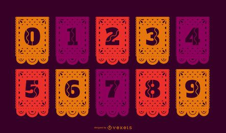 Conjunto de números de banner de papel picado
