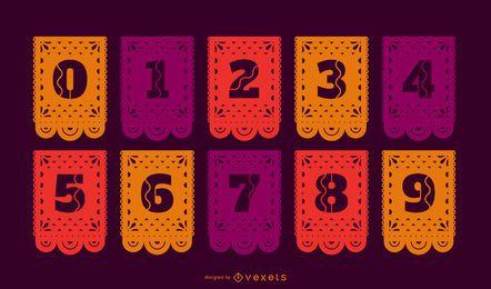 Conjunto de números de banner papel picado