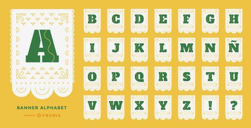 Conjunto de alfabeto papel picado