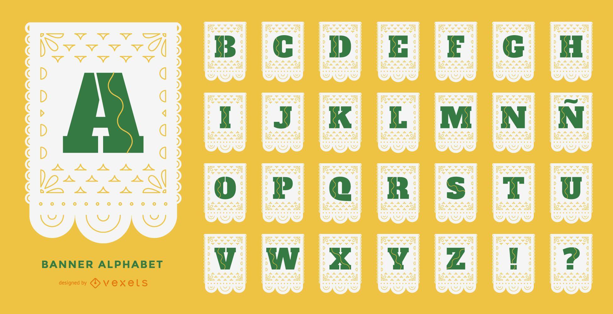 Conjunto de alfabeto de papel picado