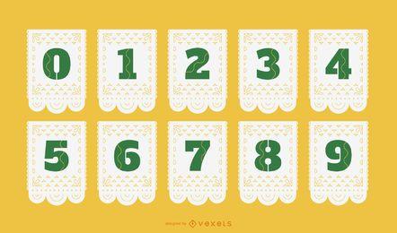 Conjunto de números de papel picado