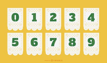 Papel picado numbers set