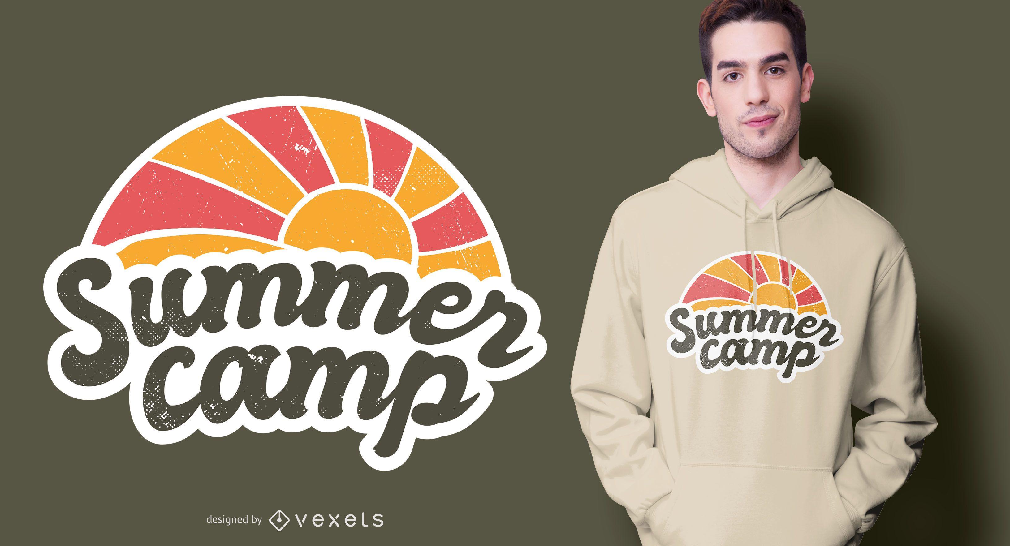 Diseño de camiseta vintage de campamento de verano.