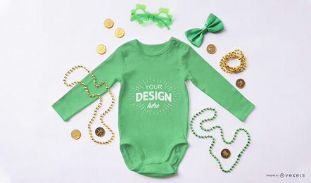 Maquete de bebê macacão st patricks