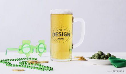 Composición de maqueta de cerveza de San Patricio