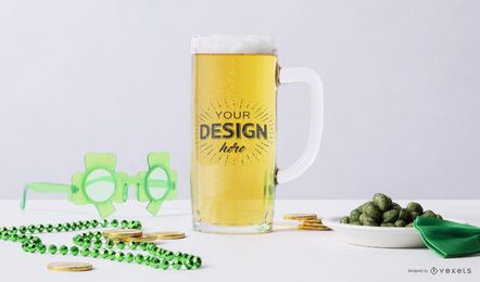 St Patrick's beer mockup composition