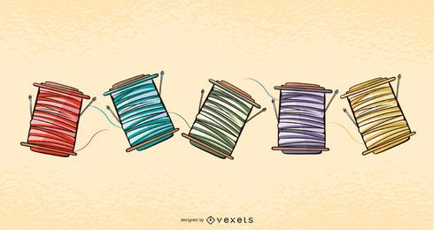 Thread spools illustration set