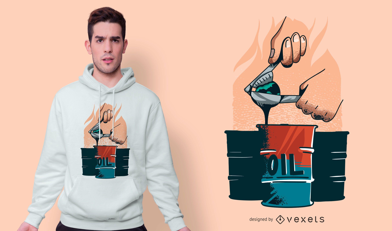 Design de camiseta de explosão de óleo
