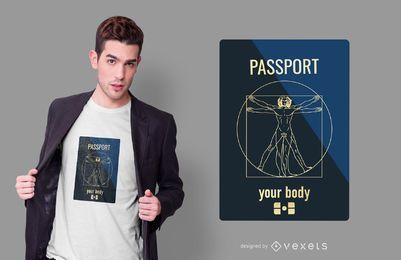 Diseño de camiseta divertida de pasaporte
